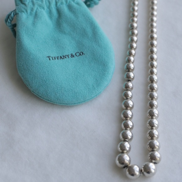 Tiffany's graduated silver ball necklace.